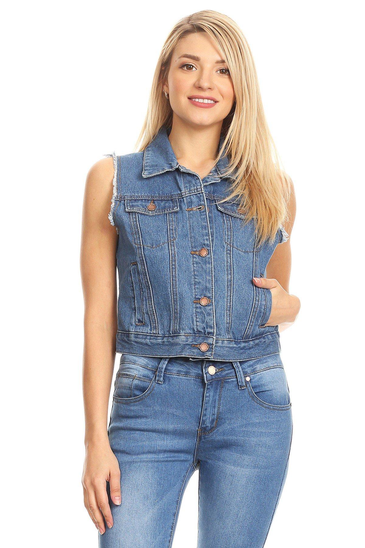 K's more Womans Juniors Buttoned Down Denim Vest w Front Pockets (Deep Blue Sea, S)
