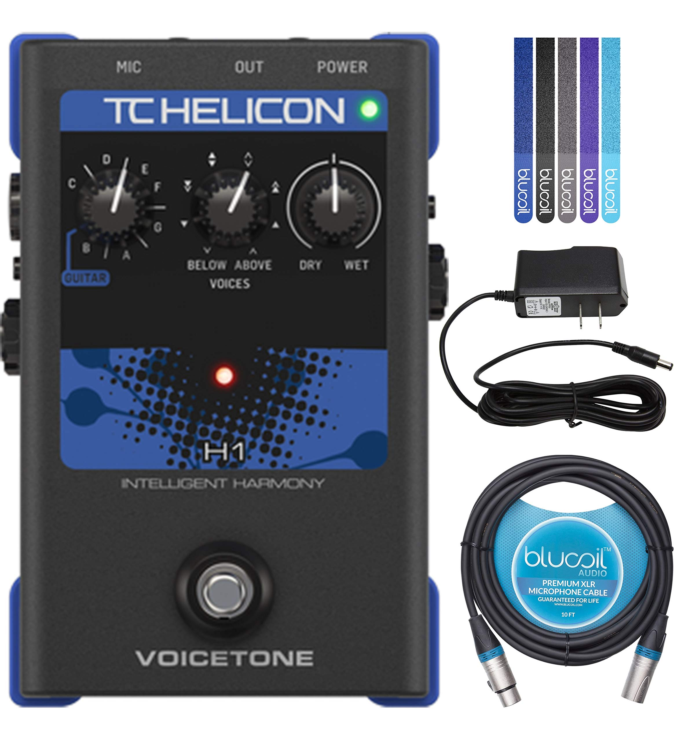 TC Helicon VoiceTone H1 Vocal Effects Pedal Bundle with 12V 400mA DC Power Supply, Blucoil 10-FT Balanced XLR Cable, and 5-Pack of Reusable Cable Ties
