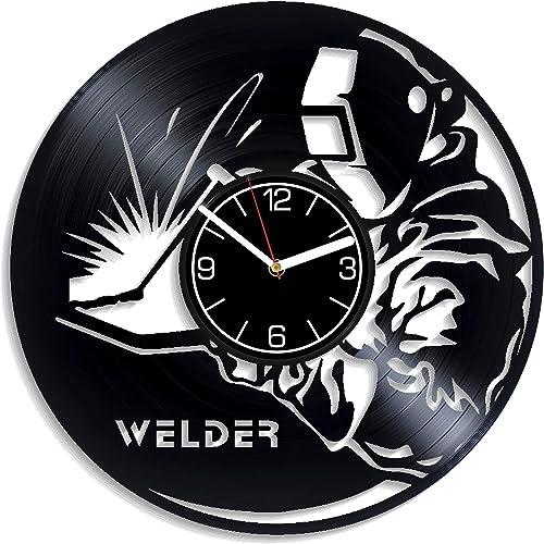Kovides Profession Decoration 12 inch Wall Clock Welder Vinyl Record Wall Clock Profession Wall Art Welder Birthday Gift