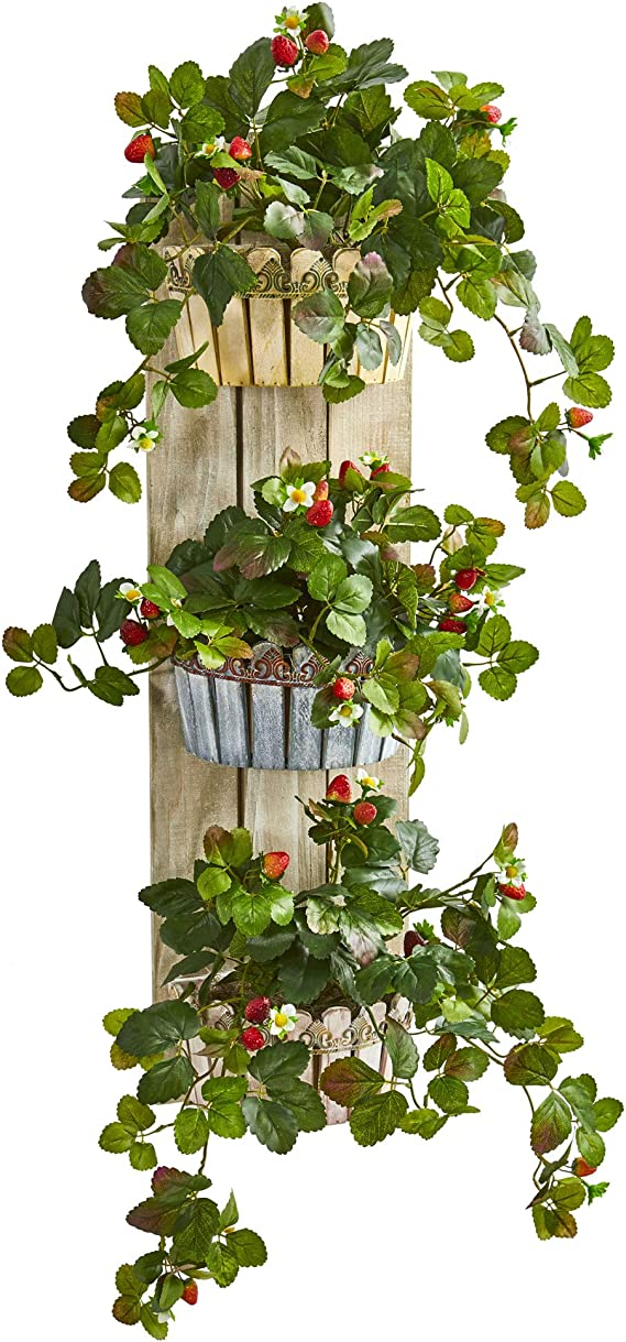 Nearly Natural 39 In Strawberry Artificial Three Tiered Wall Decor Planter Silk Plants Green Home Kitchen Amazon Com