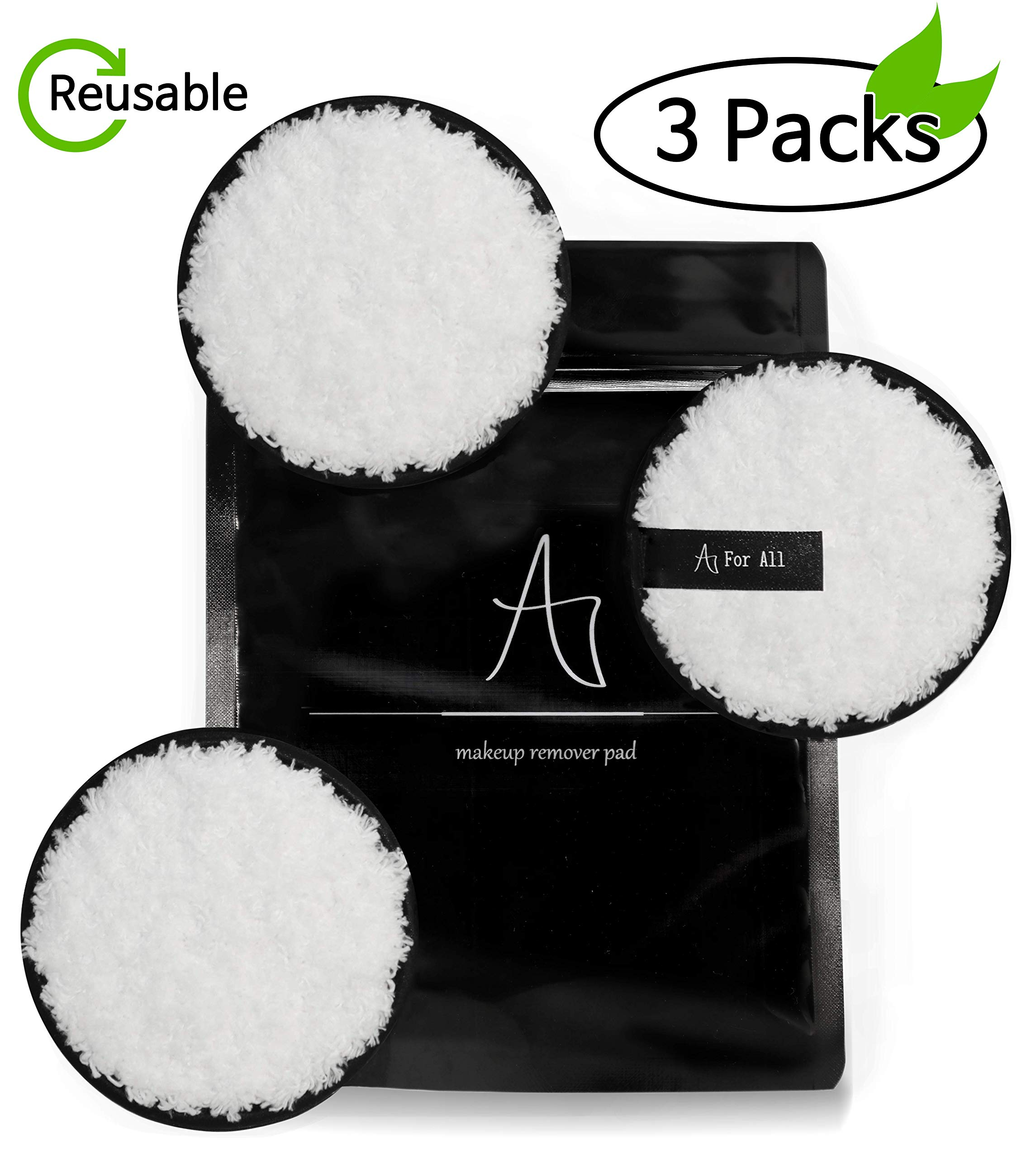 For All Makeup remover pads/Sustainable microfiber cleansing Pads / 3 pcs/Radios 3.7 inch/no chemical component/For All skin
