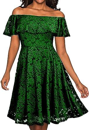 Meyison Vintage 50s Retro Rockabilly Festlich Partykleid Spitzenkleid  Ballkleid Cocktailkleid Swing Kleider 7 Farbe Grün-XXL  Amazon.de   Bekleidung 4dcfeec486