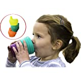 O-Sip! Silicone Sippy Lids (Pack of 3), Converts any Cup or Glass to a Sippy Cup, Makes Drinks Spillproof, Reusable, Durable (Banana, Kiwi, Passion)