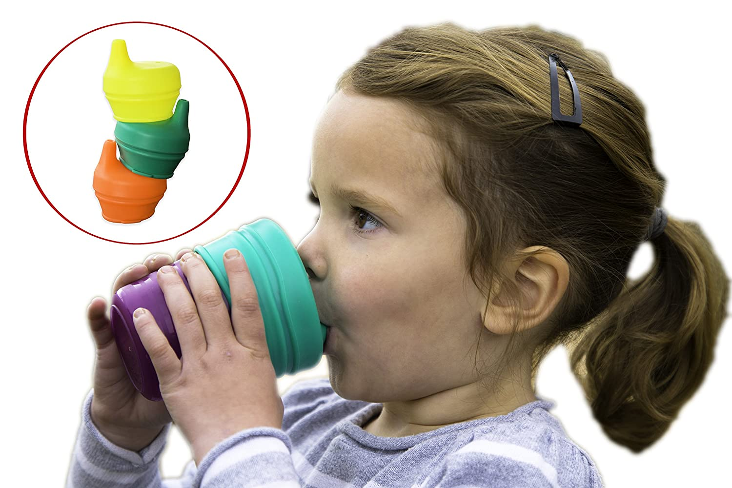 O-Sip! Silicone Sippy Lids (Pack of 3), Converts any Cup or Glass to a Sippy Cup, Makes Drinks Spillproof, Reusable, Durable (Red,Green,Blue) Modfamily.com SIPRGBFBA