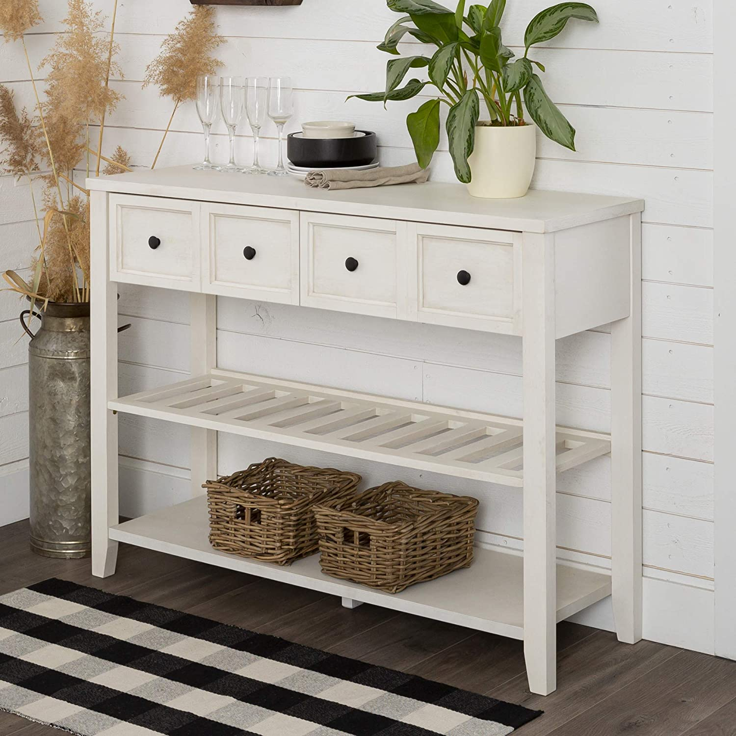 Walker Edison Modern Farmhouse Wood Buffet Sideboard Entryway Serving Storage Cabinet Doors Dining Room Console, 48 Inch, White