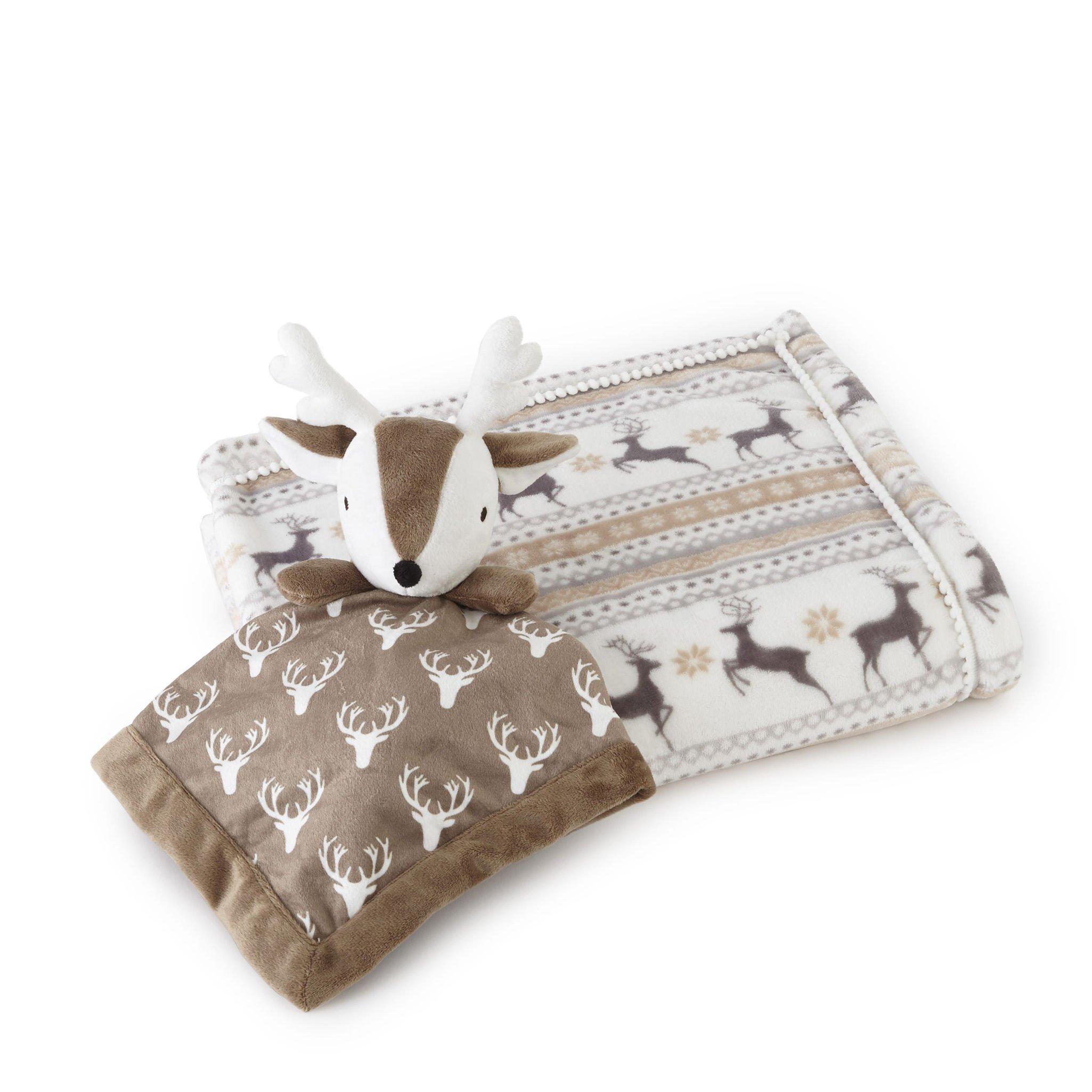 Levtex Baby Brown Plush Blanket with Deer Security Blanket Set