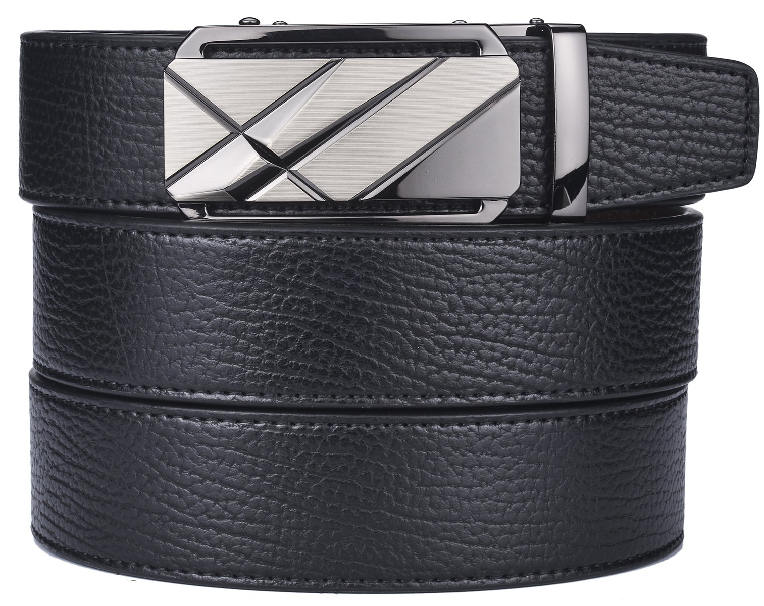 plyesxale Men's Leather Ratchet Dress Belt- Length is Adjustable - Delicate Gift Box (Waist Size:36-44'', Black Belt K120S10)