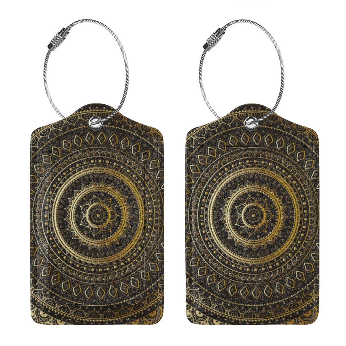 Yonjiq Leather Luggage Tag Gold Black Mandala Ethnic Oriental Luggage Tags for Suitcase Travel Lover Gifts for Men Women
