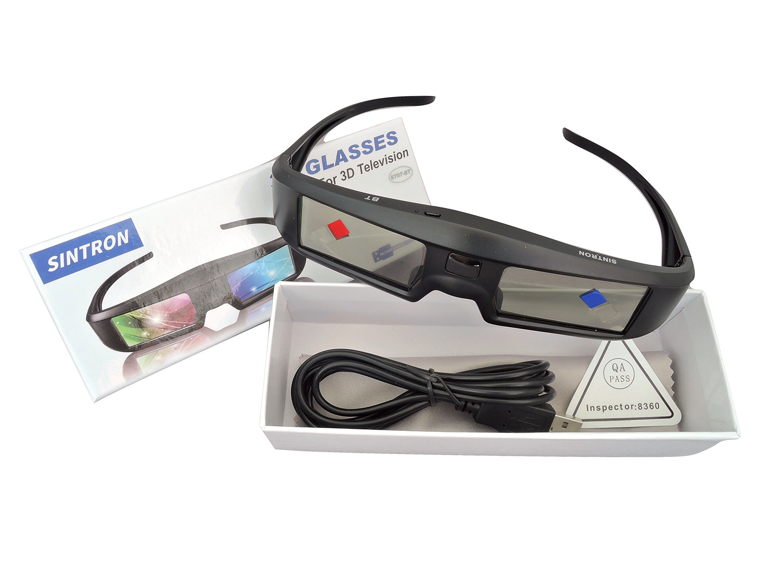 2X 3D Active Shutter Glasses Rechargeable - Sintron ST07-BT for RF 3D TV, 3D Glasses for Sony, Panasonic, Samsung 3D TV, Epson 3D projector, Compatible with TDG-BT500A TDG-BT400A TY-ER3D5MA TY-ER3D4MA by Sintron (Image #6)
