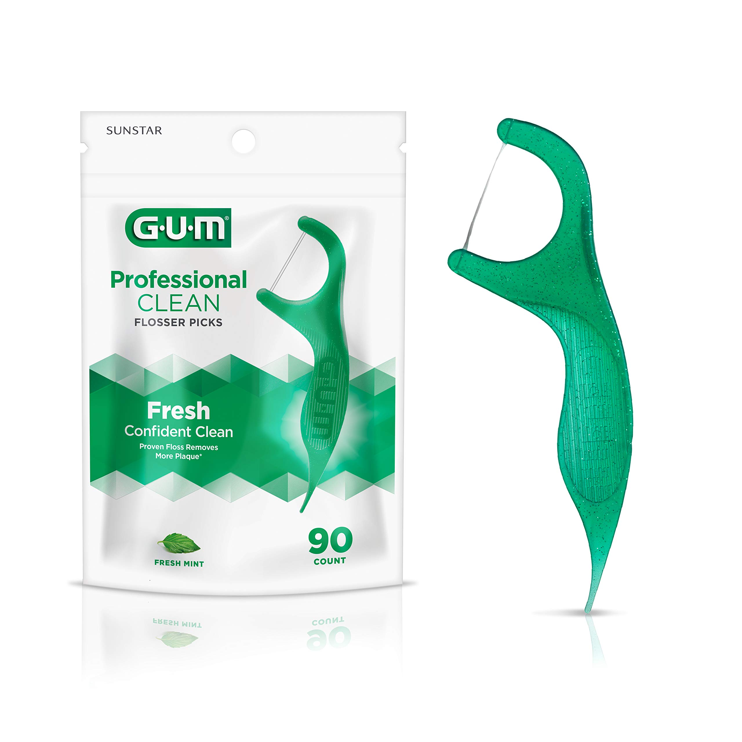 GUM - 70942302395 Professional Clean Flossers Extra Strong Flosser Pick, Fresh Mint, 90 Count (Pack of 6)