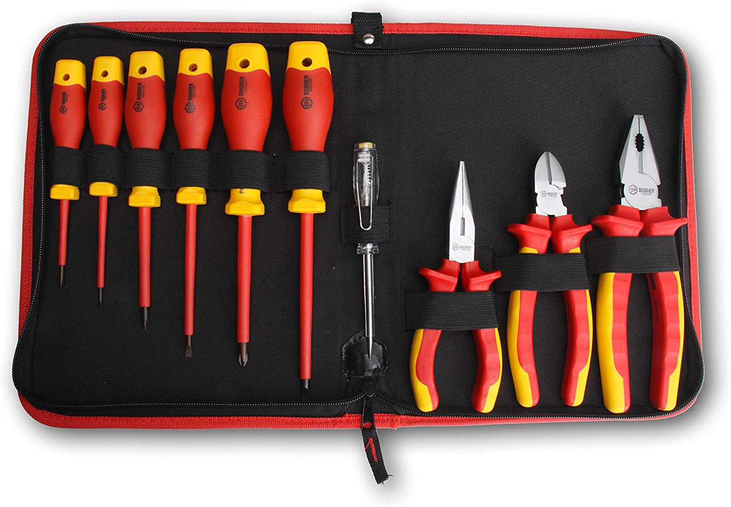 BOOHER 0200101 10-Piece 1000V Insulated Electrician\'s Tool Set 81PUu2wwGyLSL1500_