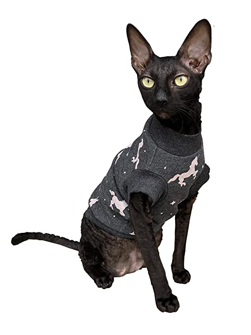 Kotomoda Ropa para Gatos Cuello Alto Unicornio en Gris (M)