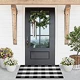 "LILI REY Buffalo Plaid Rug - 28""x44"" Indoor/Outdoor Black and White Checkered Rug, Buffalo Plaid Outdoor Rug, Front Porch Rug"