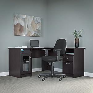 Bush Furniture Cabot L Shaped Desk and Office Chair in Espresso Oak