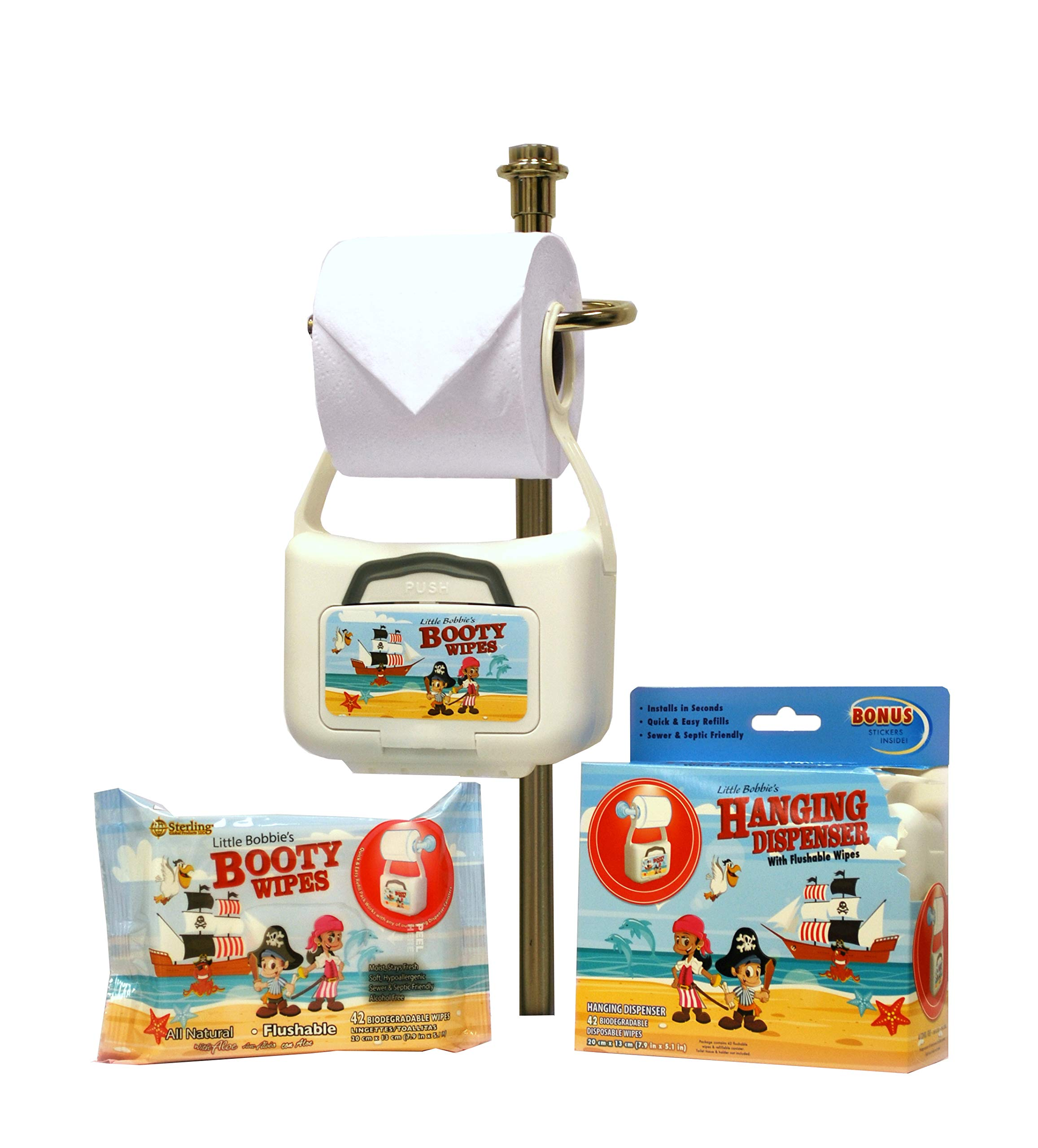 Little Bobbie's Booty Wipes Refillable Hanging Flushable Wipes Dispenser & 1 - 42ct Flushable, All Natural and Biodegradable Refill Wipes Pack by Little Bobbie's Booty Wipes