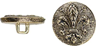 product image for C&C Metal Products 5040 Fleur De Lis Metal Button, Size 36 Ligne, Antique Gold, 36-Pack