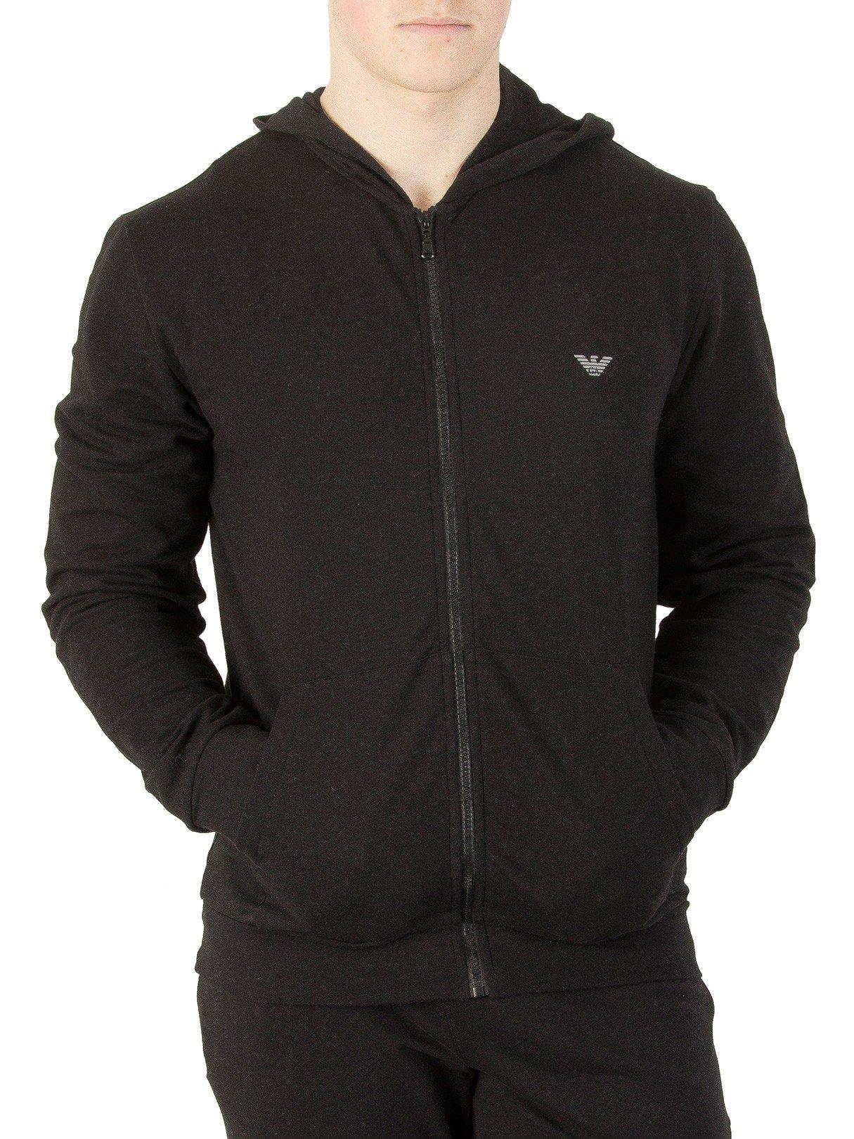 Emporio Armani Men's Logo Zip Hoodie, Black, Medium