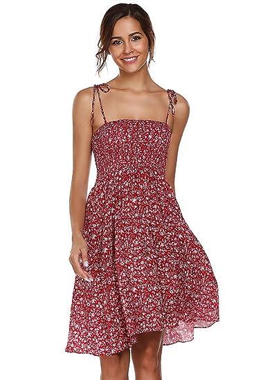 80f8760c86df7c Meaneor Damen Ärmellos Spaghettiträger Kleid Baumwolle Blumenmuster  Strandkleider für Sommer (34 (Herstellergröße S)