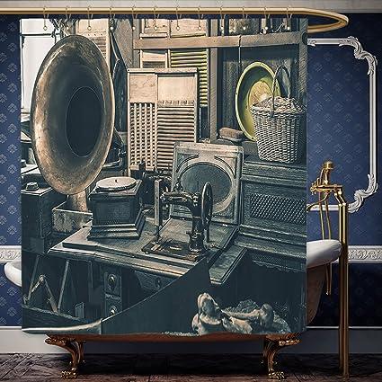 Wanranhome Cortina de ducha hecha a medida envejecida por Antique Store Inventory antigua máquina de coser