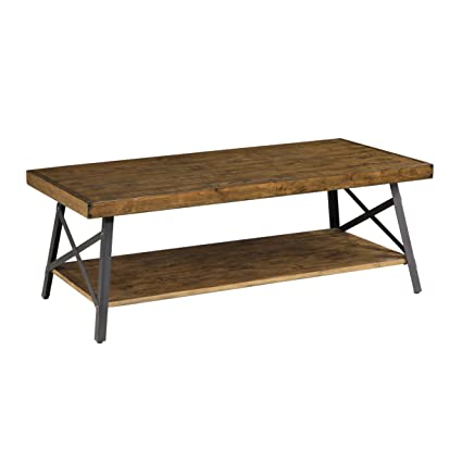 Emerald Home Chandler Rustic Industrial Solid Wood And Steel Coffee Table  With Open Shelf