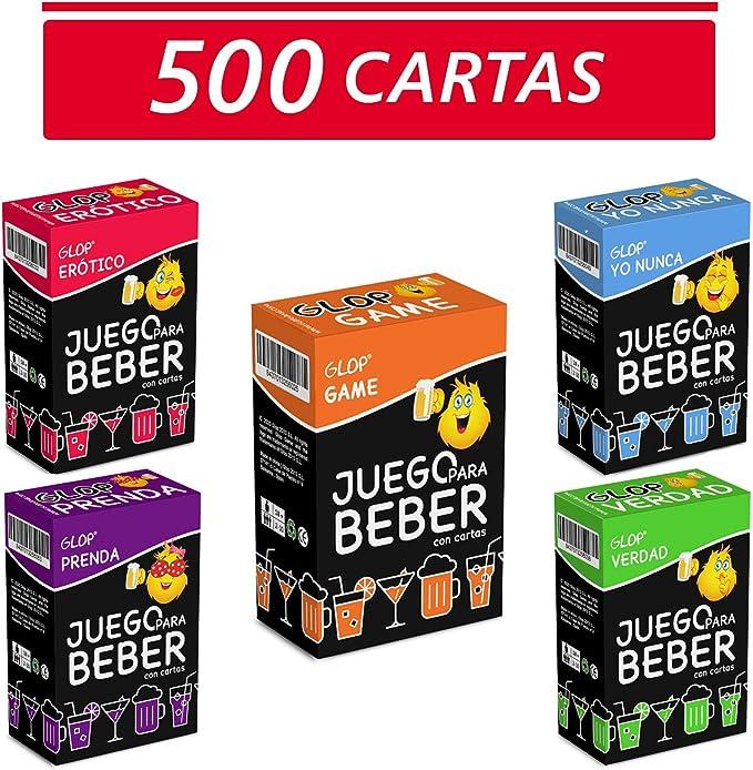 Glop 500 Cartas + App - Juegos para Beber - Juegos de Cartas para Fiestas - Juegos de Mesa - Regalos Originales: Amazon.es: Juguetes y juegos