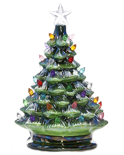 relive christmas is forever lighted tabletop ceramic tree with timer switch 8 green pearlized