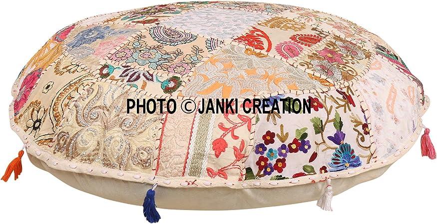 solo copertura vintage pouf 32 tradizionale vintage Indian pouf Floor//poggiapiedi Boemia rotondo cuscino da pavimento 100/% cotone Art Decor cuscino