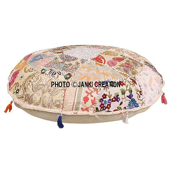Cojín de suelo redondo bohemio, tradicional vintage indio puf suelo / taburete de pie, 100% algodón, cojín de decoración de arte, solo funda,Pouf 16, ...