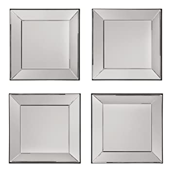 OSP Designs 4 Piece Time Square Wall Set with Wide Mirrored Frames ...