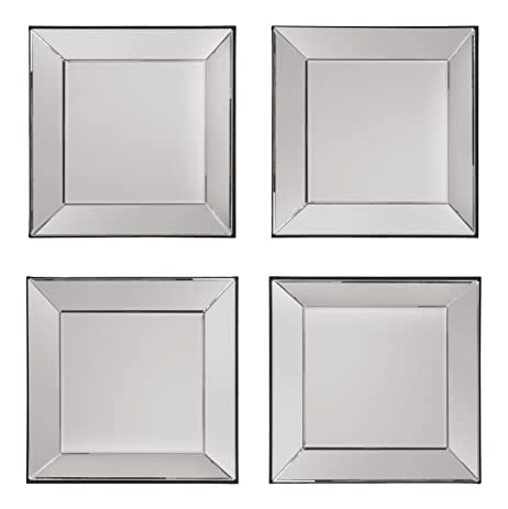 osp designs 4 piece time square wall set with wide mirrored frames mirror - Mirror Picture Frames
