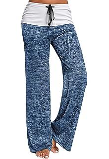 QBQ Frauen Stripe Prints Drawstring Wide Leg Hose,Gut für Urlaub ... a0c90711eb