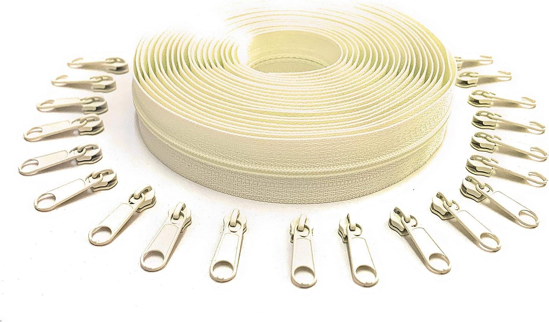 5 Yards of Make Your Own Zipper Vanilla Cream 20 Zipper Pulls Zip