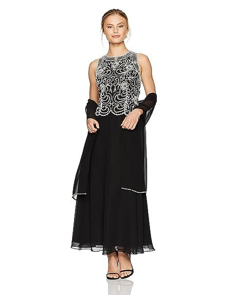c801bfccb35a J Kara Women's Petite Beaded Sleeveless Long Dress with Scarf, Black/White,  ...