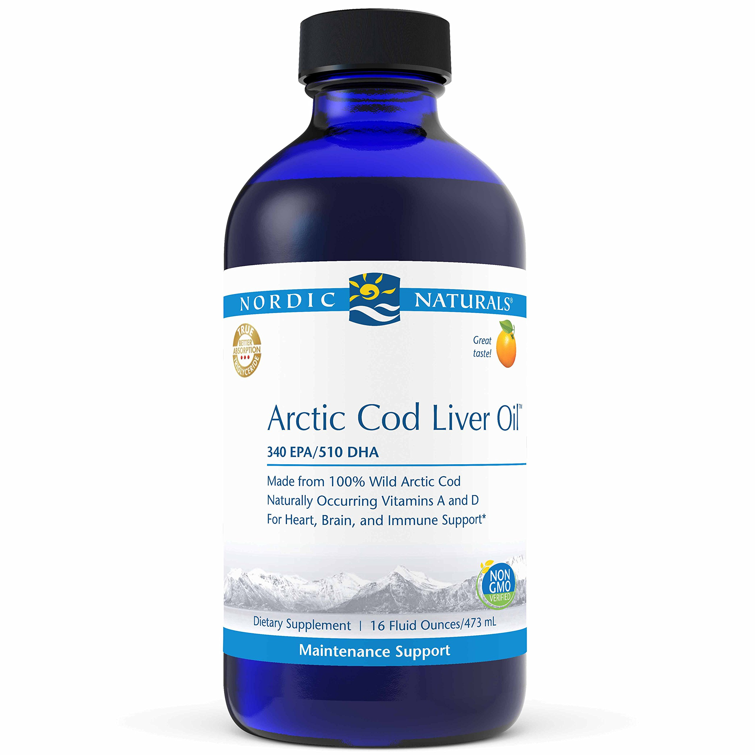 Nordic Naturals Pro Arctic Cod Liver Oil Liquid - 100% Wild Arctic Cod Liver Oil, 340 mg EPA, 510 mg DHA, Support for Cardiovascular, Neurological, and Immune Health, Orange Flavored, 16 oz.