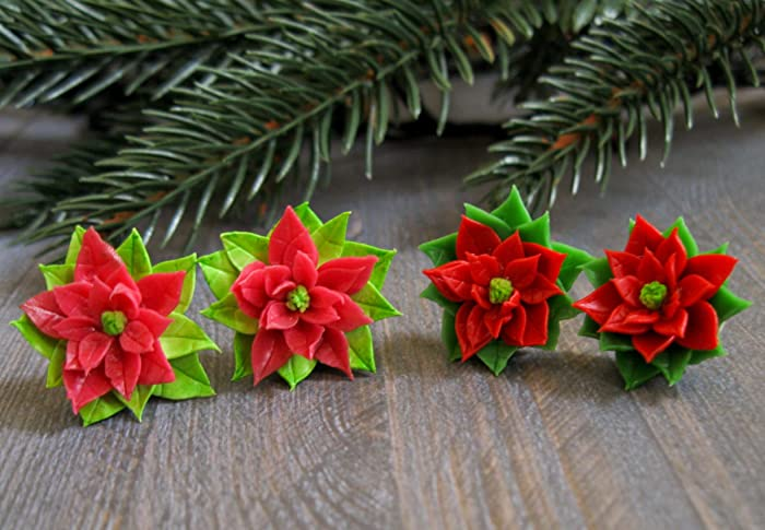 Christmas gift idea for best friend Sister Xmas present Poinsettia star stud earrings Holiday jewelry winter flower New year cute floral handmade unique ...