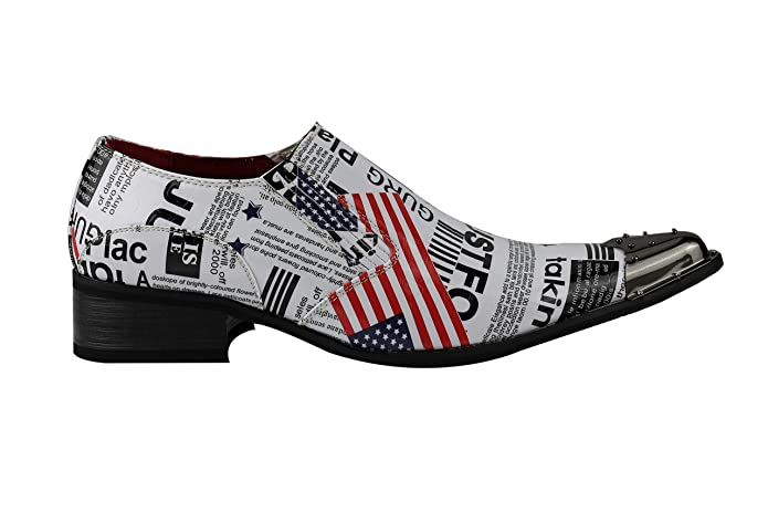 Mens Retro White USA Flag Newspaper Print Patent Shiny Leather Loafer Metal  Toe Slip on Shoes: Amazon.co.uk: Shoes & Bags