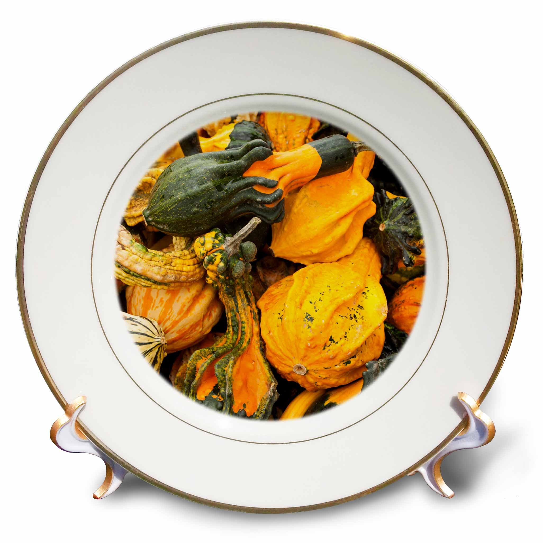 3D Rose Germany-Ludwigsburg-Bluhendes Barock Gardens-Fall-Squash Porcelain Plate, 8''