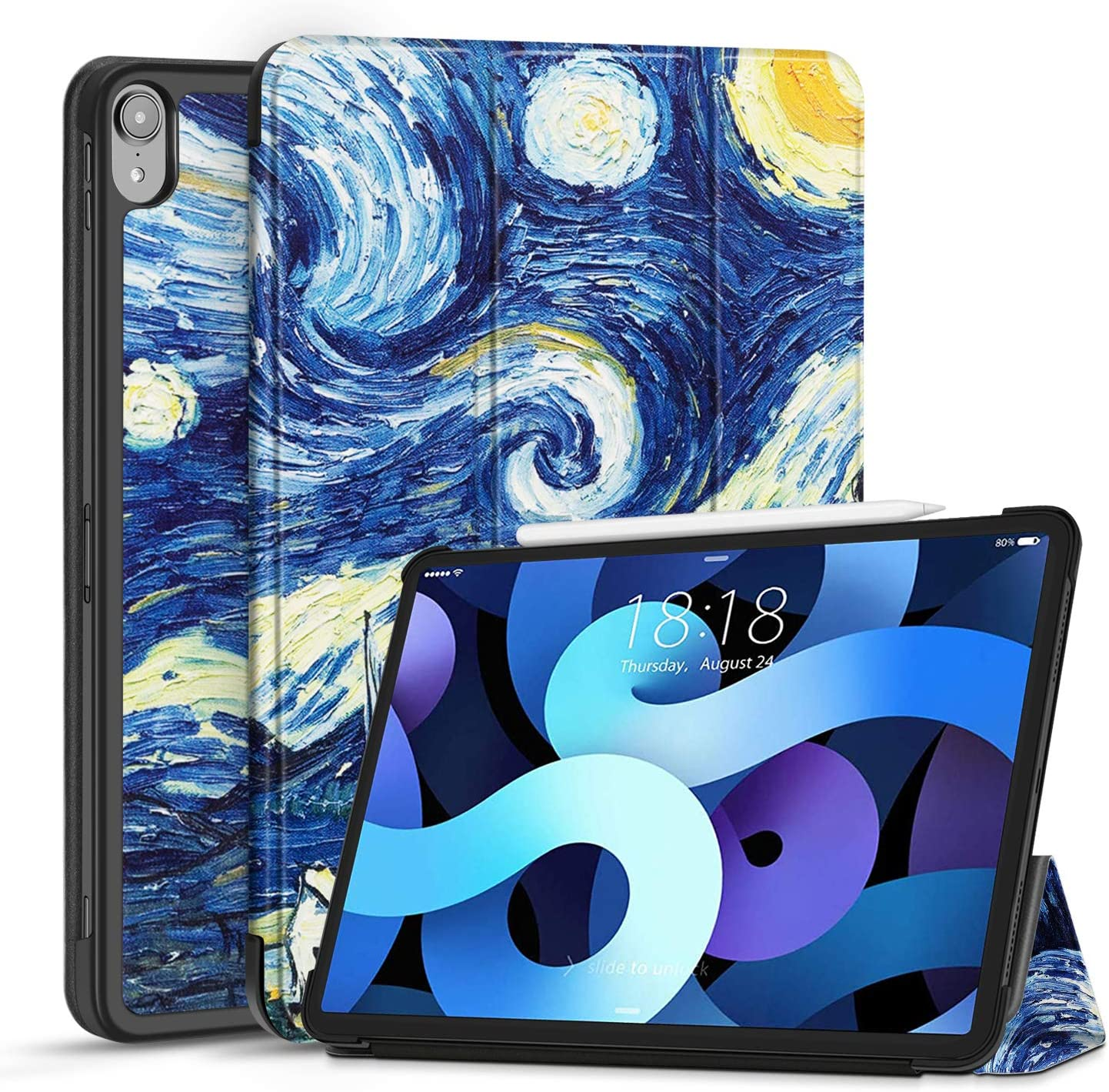 TNP Case for iPad Air 4 / 4th Generation 2020 Protective Cover 10.9 Inch Compatible with 2nd Gen Apple Pencil Charging - Trifold Stand Holder Slim Folio Sleeve Smart Auto Sleep Wake - Starry Night