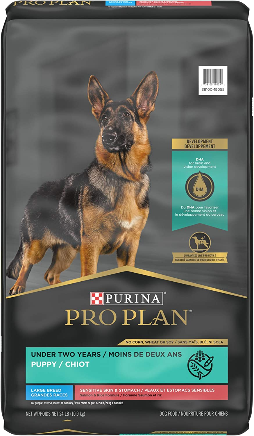 Purina Pro Plan Sensitive Skin and Stomach Large Breed Puppy Food with Probiotics, Salmon & Rice Formula - 24 lb. Bag