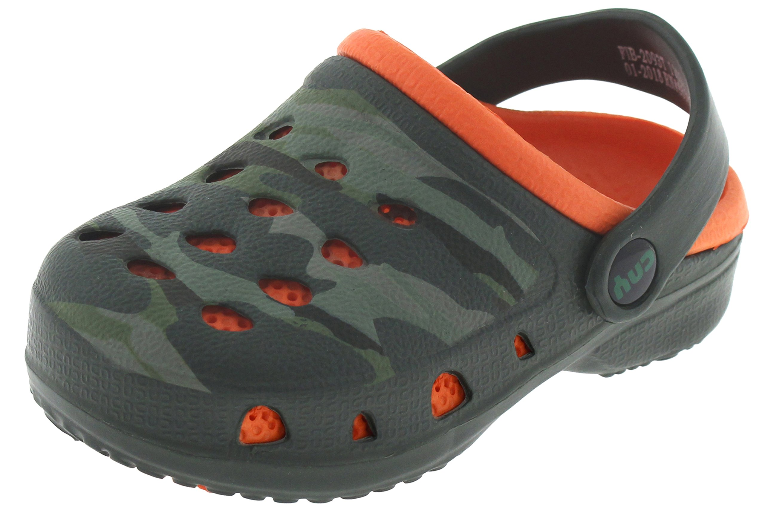 Capelli New York Toddler Boys Camo Printed Two Tone Clogs with Backstrap Green Combo 8/9