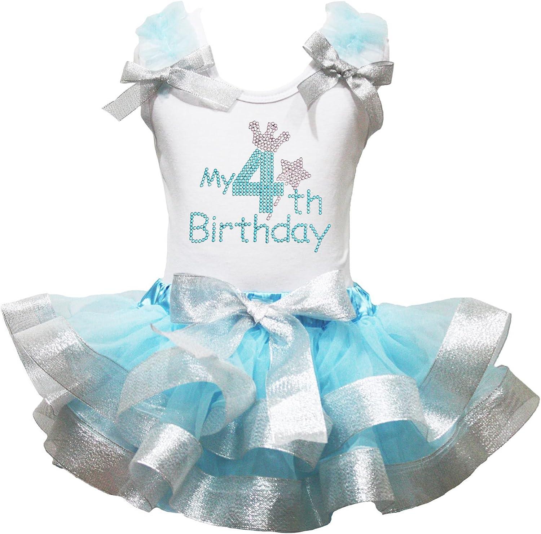 Mi 4th Birthday Vestido Camisa de Color Blanco luz Azul Plateado Pétalos Falda Outfit Set nb-8y