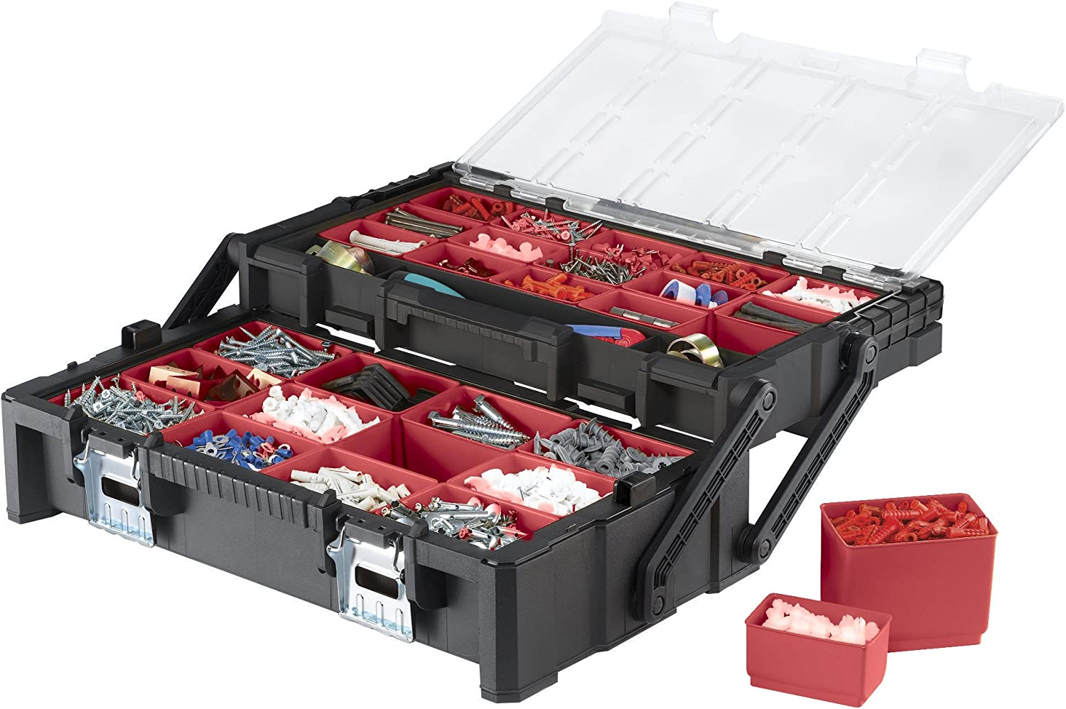 Keter 22 Inch Resin Cantilever Portable Tool Box Organizer with 27 Removable Compartments for Hardware Storage, and Nut and Bolt Organization 81LMg1GVtZLSL1500_