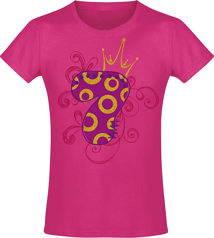 7 Anni con Corona e Glitterato T-Shirt Idea Regalo Bambini Girl-s Principessa Princess Rosa Pink Pigiama Birthday Annata 2013 Maglietta Compleanno per Bambina