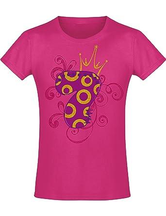 Camiseta de Cumpleaños - 7 Años con Corona y Brillo - Año 2013 - T-Shirt Niños Chica Niña Niñas Girl-s - Rosa Pink Fucsia Pijama - Regalo Princesa ...