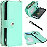 LG G5 Case, Style4U Premium PU Leather flip Wallet Bag Pouch Case with Credit Card Slots Pockets Cover for LG G5 with 1 Stylus [Mint Green]