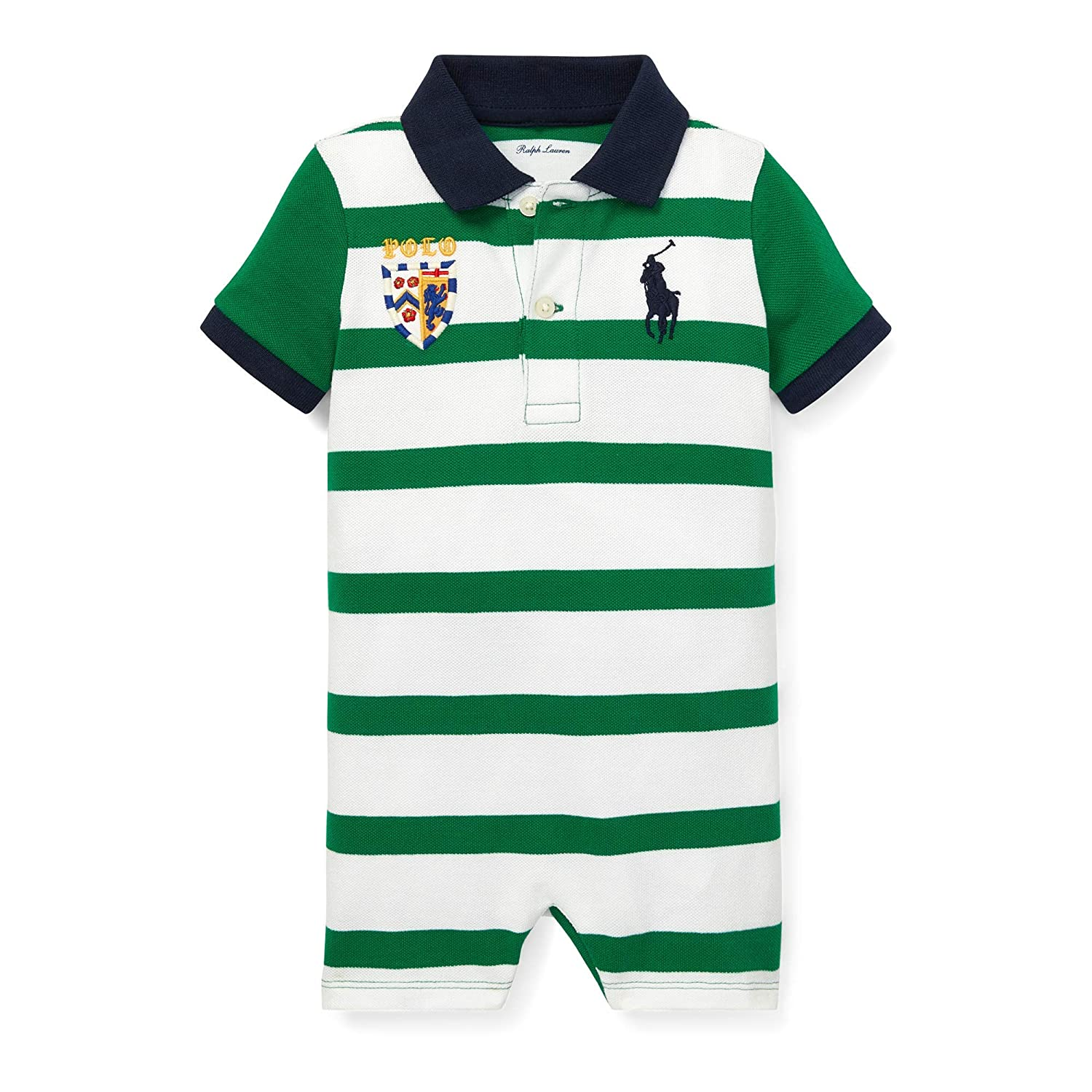 Ralph Lauren Baby Boys Striped Cotton Polo Shortall