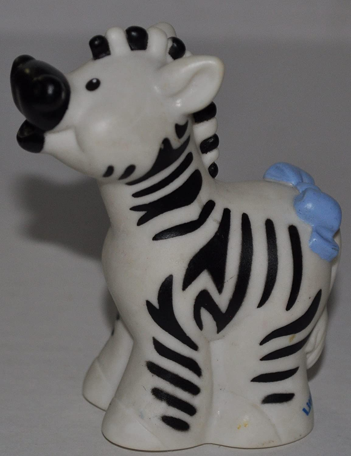 Little People Zebra - Zoo Circus Ark Pet Castle 2001 Classic Fisher Price Collectible Figures OOP - Replacement Figure Accessory Blue Bow On Tail Loose Out Of Package /& Print
