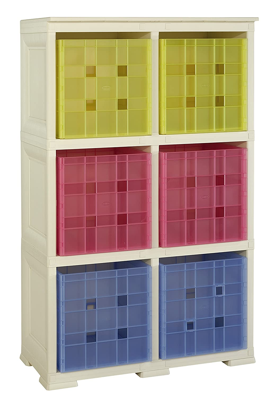 Tontarelli Omnimodus Scaffale con 6 Contenitori Cubo, Plastica, Angora, 79x47x125 cm 8086053210 8086053_210EAN