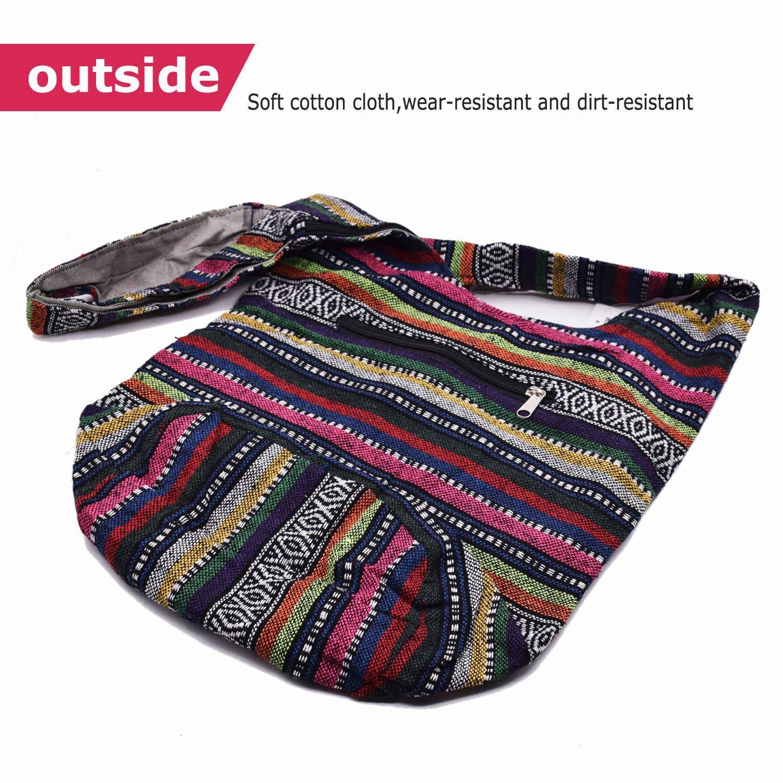 Witery Women's Sling Crossbody Bags Large Shoulder Shopping Hobo Bag Handbag Top Zip Bags Handmade Messenger Bag Wallet by Witery (Image #4)