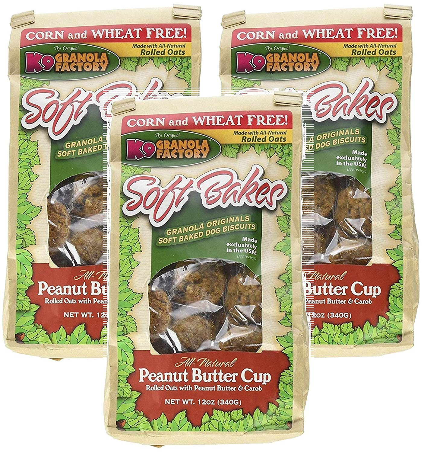 K9 Granola Factory 3 Pack of Soft Bakes Peanut Butter Cup Dog Biscuits, 12 Ounces Per Pack